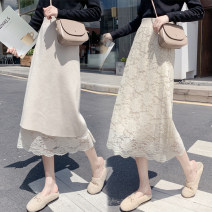skirt Autumn of 2019 Average size Apricot, black Mid length dress commute High waist skirt Solid color Type A Double jersey Lace Other / other cotton Korean version