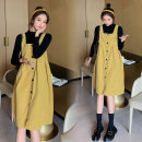 suit Other / other Picture color suit M,L,XL,XXL Korean version Long sleeve + skirt spring and autumn routine Solid color Pure cotton (95% and above)