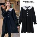 Dress Other / other black M. L, XL, XXL, XXXL, increase XXXL Korean version Long sleeves Medium length spring Lapel Solid color polyester fiber