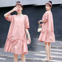 Dress other 8221 pink, 8221 white, 8221 blue M,L,XL,XXL Korean version Short sleeve Medium length summer Crew neck Solid color Pure cotton (95% and above)