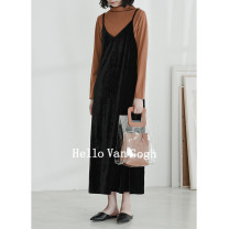 Dress Autumn 2021 black One size F Mid length dress singleton  Sleeveless commute V-neck Loose waist Socket A-line skirt camisole Type A Time travel Retro backless WA81420 71% (inclusive) - 80% (inclusive) other other