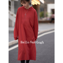Dress Spring 2021 Black, apricot, jujube, gray blue, dark pink, orange Average size longuette singleton  Long sleeves commute Hood Loose waist Solid color Socket A-line skirt routine Others 18-24 years old Type A Hello Van Gogh Korean version SYTA20494010627 More than 95% cotton