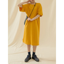 Dress Summer 2021 One size F Mid length dress singleton  Short sleeve street Crew neck Loose waist Socket other routine Type A Time travel More than 95% cotton neutral