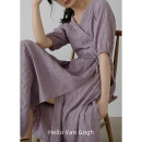 Dress Summer 2021 Warm purple One size F Mid length dress singleton  Short sleeve commute V-neck Loose waist Solid color Socket A-line skirt routine Others Type A Time travel Korean version 31% (inclusive) - 50% (inclusive) Chiffon other