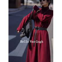 Dress Winter 2020 Blue, red One size F Mid length dress singleton  Long sleeves commute Half high collar Loose waist Solid color Socket A-line skirt routine Others Type A Hello Van Gogh Korean version JLA205221111032 31% (inclusive) - 50% (inclusive)