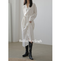 Dress Spring 2021 white One size f (with belt) Mid length dress singleton  Long sleeves commute square neck Loose waist Solid color Socket A-line skirt routine Others Type A Hello Van Gogh Korean version JLA203700810045 91% (inclusive) - 95% (inclusive) other