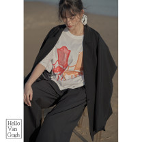 T-shirt White, black, dark gray, light yellow, skin pink S,M,L Spring 2021 Short sleeve Crew neck easy Regular routine commute cotton 96% and above Korean version Solid color Hello Van Gogh SYTA6281012020