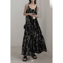 Dress Summer 2021 black One size F Mid length dress singleton  Sleeveless commute Crew neck Loose waist Abstract pattern Socket Big swing camisole Type A Time travel Korean version 31% (inclusive) - 50% (inclusive) polyester fiber