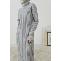 Dress Winter 2021 Gray, black, apricot, yellow, brown One size F Mid length dress singleton  Long sleeves commute High collar Elastic waist Solid color Socket A-line skirt routine Others Type A Time travel Korean version thread RF033 31% (inclusive) - 50% (inclusive) brocade other