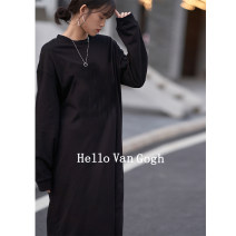 Dress Spring 2021 Black, apricot, gray blue, jujube, dark pink, orange Average size longuette singleton  Long sleeves commute Crew neck Loose waist Solid color Socket A-line skirt routine Others 18-24 years old Type A Hello Van Gogh Korean version SYTA20493010627 More than 95% cotton