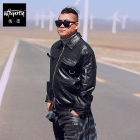 Jacket Wei Chen Youth fashion black Plush and thicken easy Other leisure winter Polyester 100% Long sleeves Wear out square neck tide Large size routine Zipper placket 2018 Cloth hem No iron treatment The appearance is loose and the inside is closed Solid color PU leather Metal decoration other