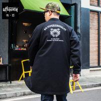Jacket Wei Chen Youth fashion black 2XL,3XL,4XL,5XL,6XL,7XL routine easy Other leisure summer MB7139 Viscose fiber (viscose fiber) 63% polyamide fiber (nylon fiber) 32% polyurethane elastic fiber (spandex fiber) 5% Long sleeves Wear out stand collar tide Large size long Zipper placket 2017 Cloth hem