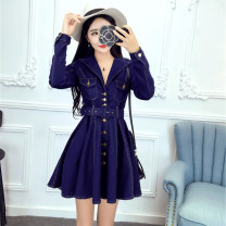 Dress Fall 2017 blue S,M,L,XL Short skirt singleton  Long sleeves street tailored collar High waist Solid color Single breasted Big swing routine Others 18-24 years old Type A Other / other 51% (inclusive) - 70% (inclusive) Denim other Europe and America
