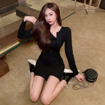 Dress Spring 2021 black S,M,L Short skirt singleton  Long sleeves commute V-neck High waist Solid color One pace skirt routine Others 18-24 years old Type A Korean version Button 51% (inclusive) - 70% (inclusive)