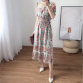 Dress Autumn 2020 Stand collar perspective short sleeve floral waist length skirt S,M,L,XL Mid length dress singleton  Short sleeve street stand collar High waist Broken flowers zipper Big swing puff sleeve Others Type X Pleat, stitching, mesh, zipper, lace, printing F750 Europe and America