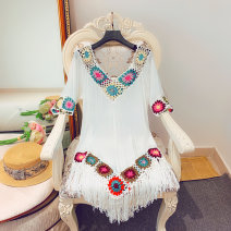 Dress Summer of 2019 White, apricot Average size Middle-skirt singleton  elbow sleeve Sweet V-neck Loose waist other Socket A-line skirt routine Others 18-24 years old Type A Candy Fringes, hollowing out, Gouhua, hollowing out, splicing 30% and below other polyester fiber Bohemia