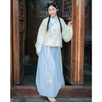 National costume / stage costume Autumn of 2019 Zhiqiuti delivers the jacket on the same day, zhiqiuti delivers the blue skirt on the same day S,M,L,XL On Qi Fu