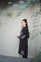 National costume / stage costume Summer of 2018 The round neck robe is black, and the round neck robe is red for the rest of my life S,M,L,XL