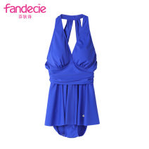 one piece  Fandecie  M,L,XL Blue sky, yellow YLW Skirt one piece With chest pad without steel support FS00011 female Sleeveless Casual swimsuit Pleating