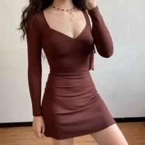 Dress Autumn 2020 coffee S,M,L Short skirt singleton  Long sleeves street V-neck High waist Solid color Socket One pace skirt routine Others 18-24 years old Type X LYQ00354 81% (inclusive) - 90% (inclusive) other Europe and America