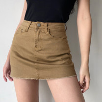 skirt Spring 2021 XS,S,M,L,XL White, khaki, army green Short skirt street High waist A-line skirt Solid color Type A 18-24 years old QZ00078 51% (inclusive) - 70% (inclusive) Denim Polypropylene fiber pocket Europe and America