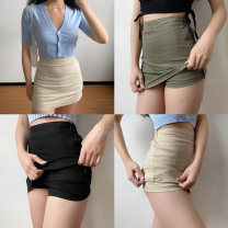 skirt Spring 2020 S,M,L Short skirt street High waist A-line skirt Solid color Type A 18-24 years old 71% (inclusive) - 80% (inclusive) other Polypropylene fiber