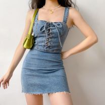 Dress Summer 2020 Denim blue XS,S,M,L Short skirt singleton  square neck High waist straps 18-24 years old Bandage LYQ00314 More than 95% cotton