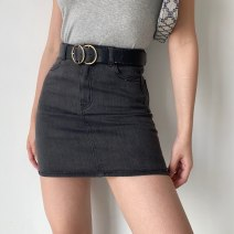 skirt Spring 2021 S,M,L Denim blue, greyish black Short skirt street High waist A-line skirt Solid color Type A 18-24 years old 71% (inclusive) - 80% (inclusive) Denim other Europe and America