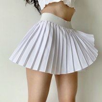 skirt Summer 2021 S,M,L,XL white Miniskirt street High waist Pleated skirt Solid color Type A 18-24 years old QZ00080 More than 95% polyester fiber Asymmetry, fold Europe and America