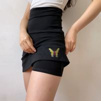 skirt Summer 2020 XS,S,M,L,XL black Short skirt street High waist A-line skirt Type A 18-24 years old 81% (inclusive) - 90% (inclusive) other cotton Embroidery
