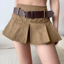 skirt Spring 2021 S,M,L khaki Miniskirt street Natural waist Pleated skirt Solid color Type A 18-24 years old QZ00079 More than 95% other cotton Europe and America