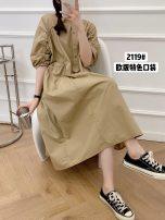 Dress Summer 2021 Kx-2119 big pocket Tencel cotton dress black, kx-2119 big pocket Tencel cotton dress blue, kx-2119 big pocket Tencel cotton dress Khaki Average size