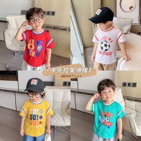 T-shirt Red, white, green, yellow Yiqi baby 90cm,100cm,110cm,120cm,130cm male summer Short sleeve Crew neck personality There are models in the real shooting nothing polyester fiber Cartoon animation Polyethylene terephthalate (PET) 90% polyurethane elastic fiber (spandex) 10% Y212TX015 Class A