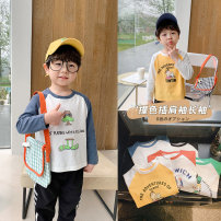 T-shirt Yellow, white with blue sleeves, white with green sleeves, white with orange sleeves, white with black sleeves Qiqi Miaomiao 90cm,100cm,110cm,120cm,130cm male spring and autumn Long sleeves Crew neck Cartoon There are models in the real shooting nothing cotton Cartoon animation Cotton 100%