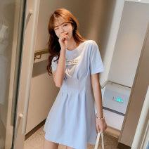 Dress Spring 2021 White, light blue M, L 18-24 years old Mu Nai Yi Q9633