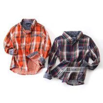 shirt Orange, blue Other / other male spring and autumn Long sleeves Europe and America lattice cotton Lapel and pointed collar Cotton 100%