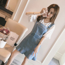 Women's large Summer 2020 White top + denim strap skirt Dress Two piece set commute thin Socket Short sleeve Solid color V-neck routine 71% (inclusive) - 80% (inclusive) Medium length other