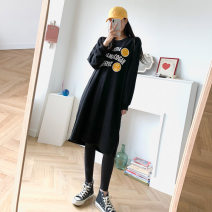 Dress Autumn 2020 Beige, black Average size longuette singleton  Long sleeves Sweet Crew neck letter Socket other routine 18-24 years old other cotton