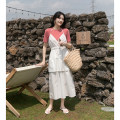 Dress Summer 2020 Black, off white S, M Mid length dress singleton  Sleeveless commute V-neck High waist Solid color Socket Cake skirt other Hanging neck style 18-24 years old Type A Mixd / Meiding Korean version Lace up, fold DQ6890 31% (inclusive) - 50% (inclusive) other cotton
