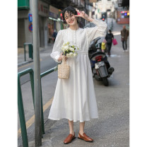 Dress Spring 2021 white Average size longuette singleton  Long sleeves commute Crew neck High waist Solid color Socket A-line skirt routine 18-24 years old Type A Mixd / Meiding Korean version 31% (inclusive) - 50% (inclusive) polyester fiber