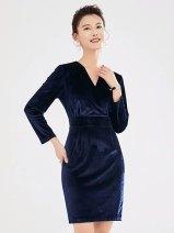 Dress Autumn of 2019 One piece dress S,M,L,XL,XXL Mid length dress singleton  commute V-neck 25-29 years old AI Shangchen Ol style