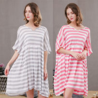 Nightdress Other / other Average size Sweet Short sleeve Leisure home Short skirt summer stripe youth Crew neck Hemp cotton printing More than 95% Cotton and hemp