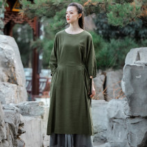 Dress Spring 2021 Dark green, black Average size longuette singleton  Long sleeves commute Crew neck Loose waist Solid color Socket other routine Others 35-39 years old Type H literature 31% (inclusive) - 50% (inclusive) other hemp