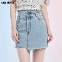 skirt Summer 2021 160/84A/S,170/92A/L,165/88A/M,155/80A/XS Denim blue Short skirt Versatile High waist Irregular Solid color Type H 25-29 years old A1RAA205A53 one more 351g / m ^ 2 (including) - 400g / m ^ 2 (including)