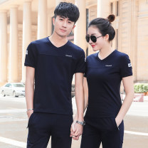 Sports suit Schlovini For men and women L,M,XL,XXL,XXXL,4XL Short sleeve V-neck trousers Socket Spring 2021 Sports & Leisure Moisture absorption, perspiration and ventilation Sports life cotton Brand logo