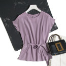 shirt Purple side lace of taro 160/84B(M),165/88B(L),170/92B(XL) Spring 2021 silk 96% and above Short sleeve commute Regular Crew neck Socket routine Pu Xu Retro C0539 Frenulum