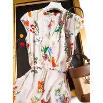 Dress Spring 2021 Carnation with white background M,L,XL,2XL Mid length dress singleton  Short sleeve commute V-neck middle-waisted Decor Socket routine Type H Pu Xu Frenulum A4491 More than 95% silk