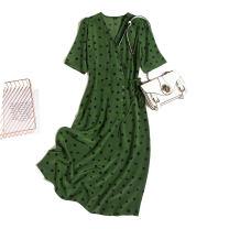 Dress Spring 2021 Grass green black spot M,L,XL,2XL Mid length dress singleton  Short sleeve commute V-neck Loose waist Dot Single breasted routine Type H Pu Xu Retro A4511 More than 95% silk