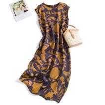 Dress Spring 2020 Purple and yellow printing 160/84B(M),165/88B(L),170/92B(XL) Mid length dress singleton  commute Crew neck Type H Pu Xu Retro A0509 More than 95% silk