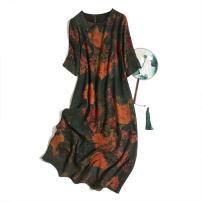 Dress Spring 2021 M,L,XL Mid length dress singleton  elbow sleeve commute Crew neck Loose waist Decor Socket routine Type H Pu Xu Retro printing A1018 More than 95% silk